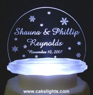 LIGHTED PERSONALIZED WINTER SNOWFLAKE WEDDING CAKE TOP CHRISTMAS