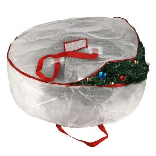 Stor Deluxe White Holiday Christmas Wreath Storage Bag For 30 Wreaths