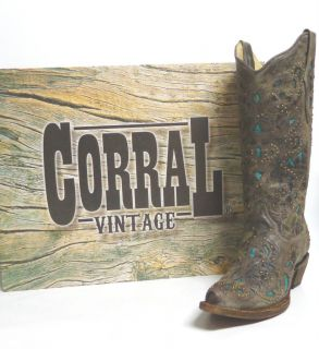 Corral Ladies Western Boots A1099 Brown Crater with Turquoise Inlay