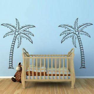 PALM TREE CARRIBEAN BEACH wall sticker wall decal huge removable vinyl