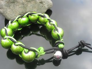 Real Leather Cord Bracelet with Green Spectra Glass Beads
