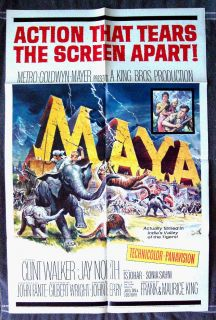 Maya poster CLINT WALKER Jay North ELEPHANT Sajid Khan I.S. JOHAR P