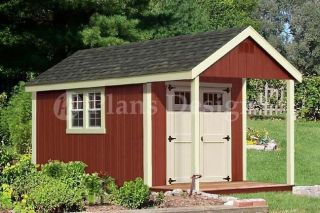 14 x 8 Cabin Shed with Porch Plans Blueprint #P61408, Free Material
