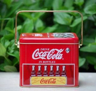 Retro COCA COLA Cooler Ice Chest Handled Tin Box Container Excellent