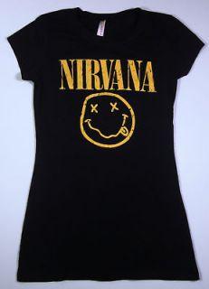 NIRVANA Smiley Face Kurt Cobain T shirt Womens Tee SzXL