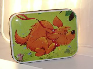 BLUE BIRD CONFECTIONERY TIN 1960s   CARTOON DOG