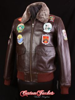 TOP GUN BROWN G 1 Bomber Pilot Aviator Cockpit Cowhide Leather Jacket