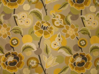 Large Woven Funky Retro Summer Floral Upholstery Fabric