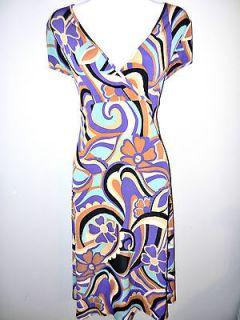 WOMENS LADIES JERSEY KNIT STRETCH PRINT SPRING SUMMER DRESS ~SZ L