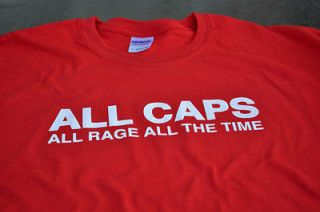 ALL CAPS rage quit gamer gaming nerd computer pc New Mens T shirt
