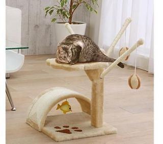 Cat Tower w/Scratching Areas and Hanging Fish and Balls, Cat Condo