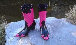 Corkys Bronco Womens Cowboy Western Style Pink Black Rain Boots 13