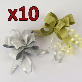 Pack of 10 Metallic Glitter GOLD or SILVER Butterfly Pull Bow Ribbons