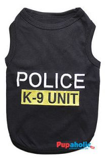 Pet Dog Clothes TShirt ★ POLICE K 9 UNIT ★ XS,XS,S,M,L,XL
