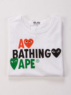 Comme des Garcons PLAY x A Bathing APE Male Tee Three Heart (S For