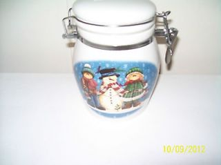 Newly listed WHITE CERAMIC CANISTER WITH SNOWMAN & CHILDREN IN THE