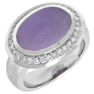 White Gold Diamond & Oval Cut Purple Amethyst Cocktail Fashion Ring