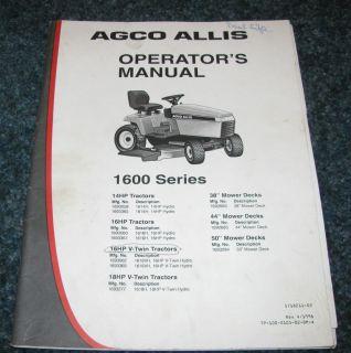AGCO Allis 1600 Series Lawn Garden Tractor & Mower Deck Operators