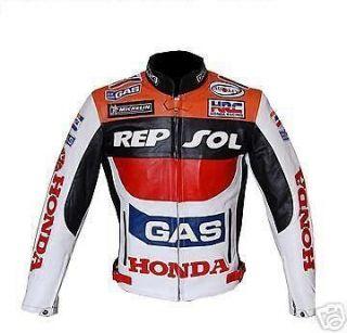 Men Honda Repsol Motorcycle Biker Leather Jacket size XS to 6XL