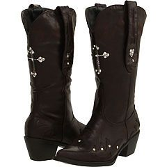 Ladies Brown Roper Rockstar Cowboy Boots with Cross and Rhinestones