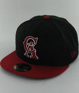 LA ANGELS COOPERSTOWN BK RD SV RD Black Red Logo Visor New Era 5950