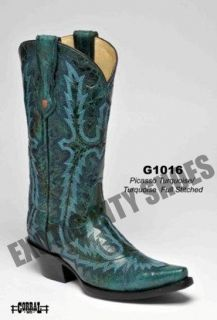 Corral Womens Leather Cowboy Western Boots Picasso Turquoise Full
