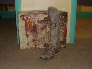 Gorgeous Old Gringo Zarape Cowgirl Boot  Taupe with Teal/Turquoise