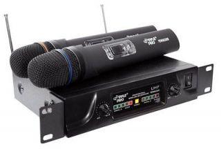 PYLE PRO PDWM2600 DJ Dual UHF Wireless Microphone System Rack w/2 Mics