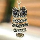 Copper Lovely Owl Pendant Necklace Big Eyes Silver pendant necklace