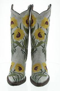 NEW WOMENS COWBOY BOOTS LADIES COWGIRL PEARL BEIGE FLOWER RODEO BIKER