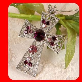 Fashion Women Jewelry Beautiful Cross pendant necklace Purple Crystal