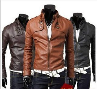 New Hot`Mens Slim Top Designed Sexy PU Leather Short Jacket Coat