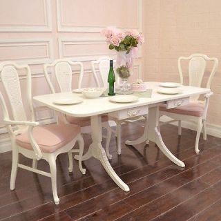 Shabby Cottage Chic Elegant Dining Table Drop Leaf Wing 1 Leaf White