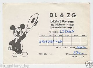 Nice Mickey Mouse German Amateur Radio Card Postcard 1960s