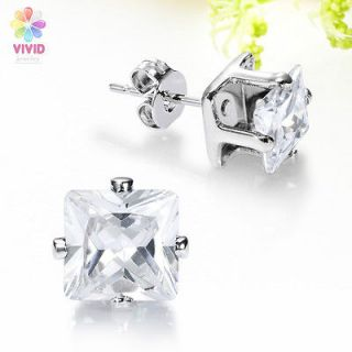 Lady Fashion Jewelry 4mm Square Cut Clear Topaz Stone White Gold GP
