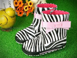 New Toddler Baby Girl Zebra Pink Bow Boots shoes 3 6 12 18 months A759