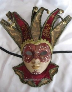 joker mask jester deep red gems bells female womens costume accessory