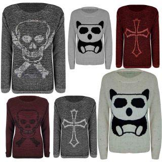 Ladies Big Panda Skull Cross Bones Print Knitted Jumper Womens Sweater