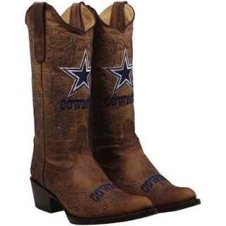 Dallas Cowboys Womens Flyover Pull Up Cowboy Boots   Brown