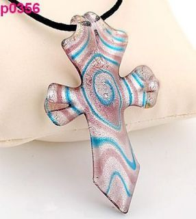 cross lampwork art glass glaze pendant necklace p356