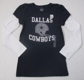 New NWT Girls Officially Licensed NFL Dallas Cowboys Long Sleeve Shirt