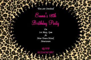 LEOPARD PRINT PARTY INVITATIONS BIRTHDAY 10th 11th 12th 17th 19th 20th