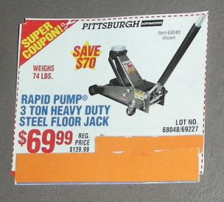 RAPID PUMP 3 TON HEAVY DUTY STEEL FLOOR JACK $70 COUPON EXPRS 6/5