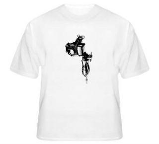 Tattoo Machine T Shirt Stencil Style Artist Gun Black and Gray