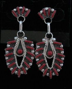 Zuni Indian Earrings Coral Needle Point Post Sterling Silver Philander