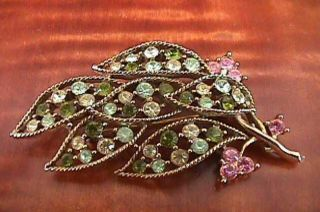 GRAZIANO Large Green Yellow Pink Leaf Goldtone BROOCH Pin