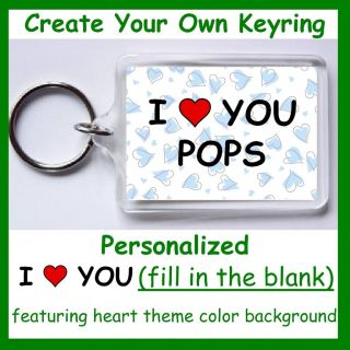 Personalized I Heart ( Love ) You Two Sided Keyring Keychain Key Fob