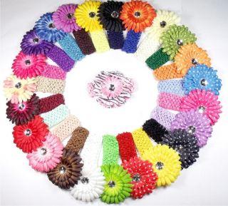 Wholesale Baby Girl Daisy Flower With Headband Hair Bows Clip 5/10/50