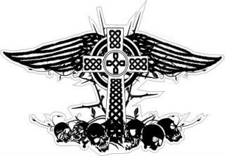CELTIC CROSS wings skull VINYL STICKER BUMPER DECAL RELIGIOUS CAR KNOT