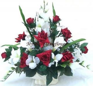 Red Roses and Calla Lily Silk Flower Floral Arrangement / Centerpiece
